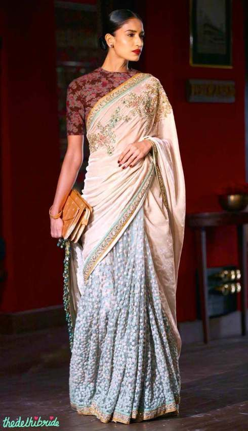 Sabyasachi Indian couture week 2014 - Velvet & tulle sari with hand embroidered bijoux detail and zardozi border