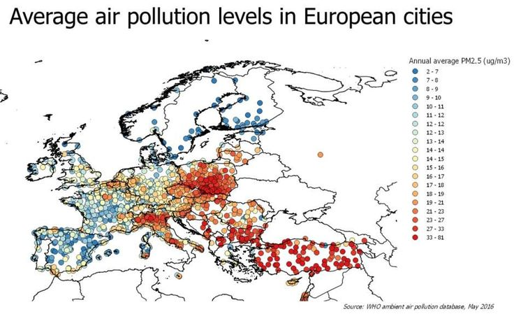 Źródło: WHO Global Urban Ambient Air Pollution Database (update 2016). #polska #smog #ekologia #zanieczyszczenie #zdrowie