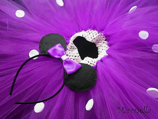 mironella / Minnie Mouse s uškami - tutu kostým fialový