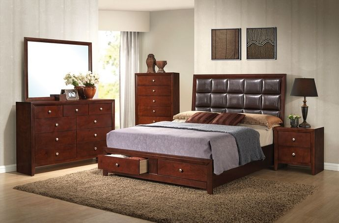 "5 pc Ilana collection brown cherry finish wood queen bedroom set with storage drawers. This set includes the Queen bed set, one nightstand, Dresser, Mirror and Chest. Queen bed features a footboard with 2 storage drawers, no box spring required. Nightstand measures 22"" x 16"" x 24"" H, Dresser measures 55"" x 16"" x 38"" H. Mirror measures 45"" x 35"" H. , Chest measures 31"" x 16"" x 47"" H. Some assembly may be required. Eastern king also available at additional cost."