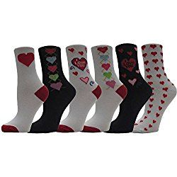 Valentine's Day Soft Crew Socks with Love Prints, 12 Pairs, Women's Size 9-11