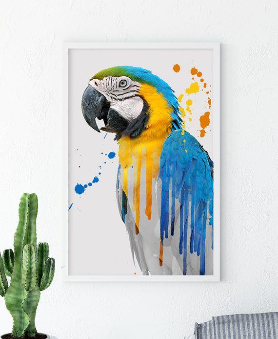 Parrot Wall Prints Bird Prints Parrot Art Parrot Poster
