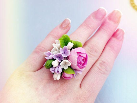 """Bague """"Peony"""", porcelaine froide, bague fleur, fleurs pourpres, fleurs de bijoux, fleurs en argile polymère, bague de sympathie"""