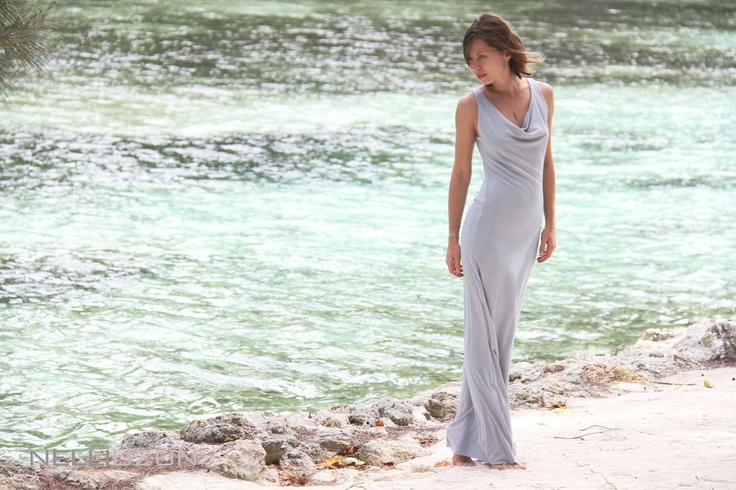 Soft long grey dress via Etsy.