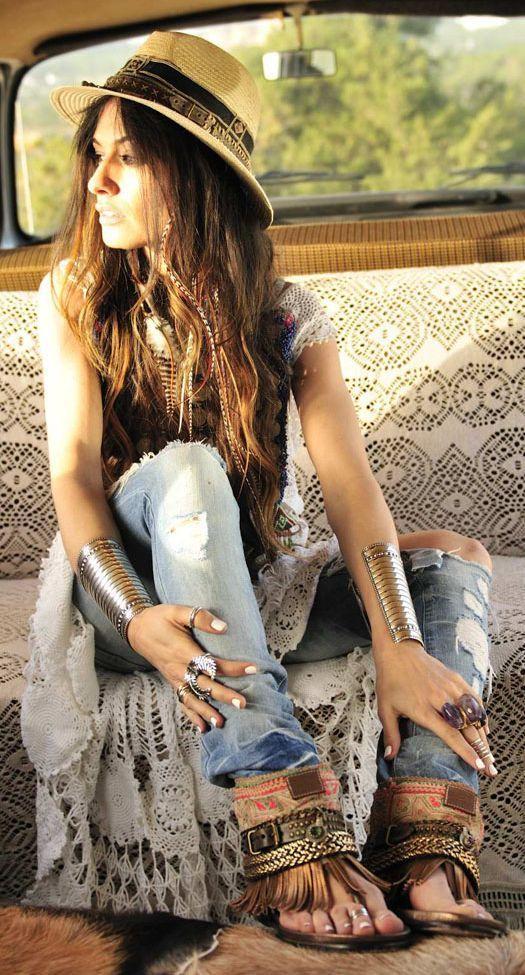 Bohemian Fashion : American Hippie Bohemian style.