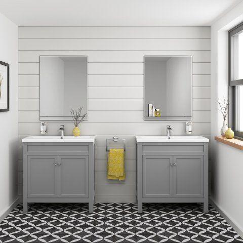 800mm Melbourne Earl Grey Floor Standing Double Door Vanity Unit - soak.com