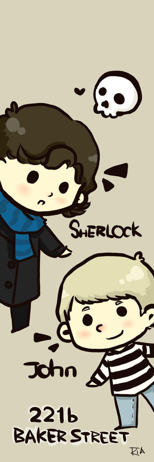 Chibi John and Sherlock  Whoaaaaaaaaa my gosh cutness factor is through the roof.