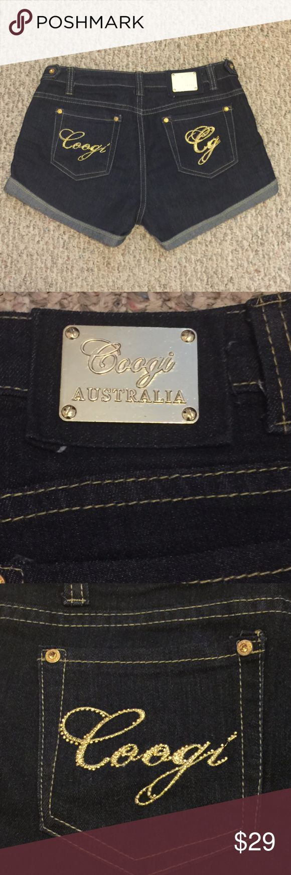 "COOGI Australia Womens Jean Denim Shorts  SZ 7/8 Gorgeous Gold embroidery at the back pockets   Waist - 30"" Rise - 8.5"" 74% cotton  24% polyester  2% spandex COOGI Shorts Jean Shorts"