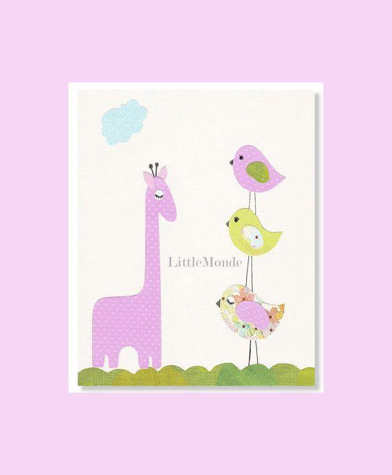 Purple Baby Girl Art, Baby Girl Room Decor Nursery by LittleMonde, $16.00