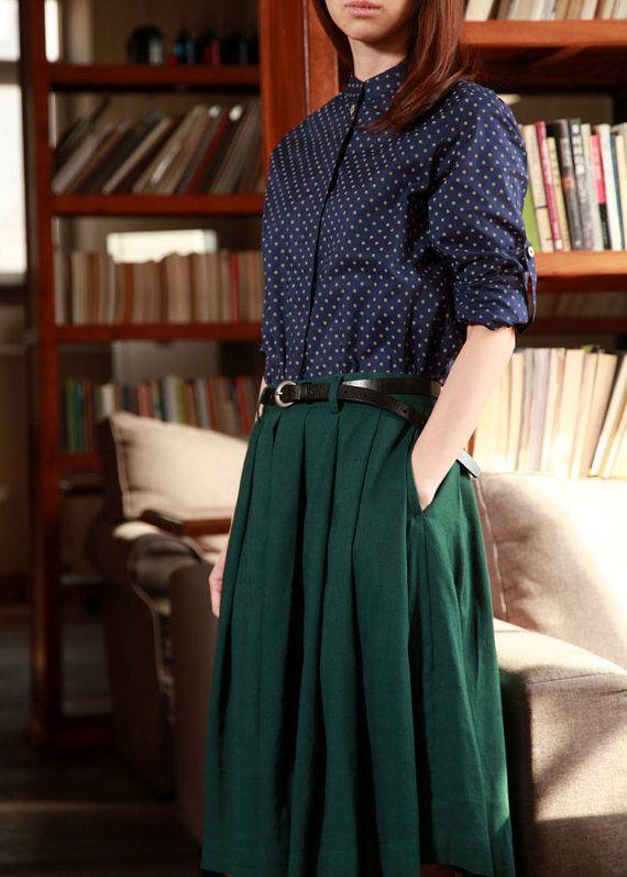 Mori Girls Pleated Skirt Green Linen Knee High Dress by Kiweis