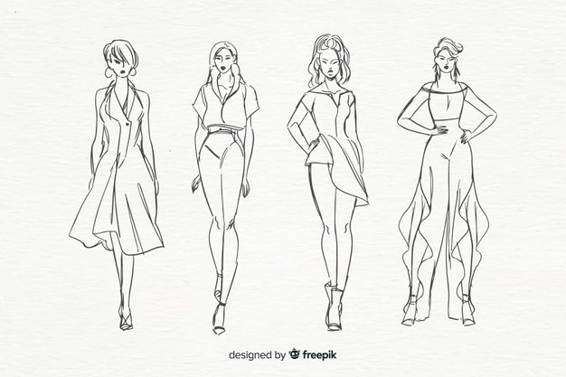Download Sketch Collection Of Fashion Models For Free Svadebnyj