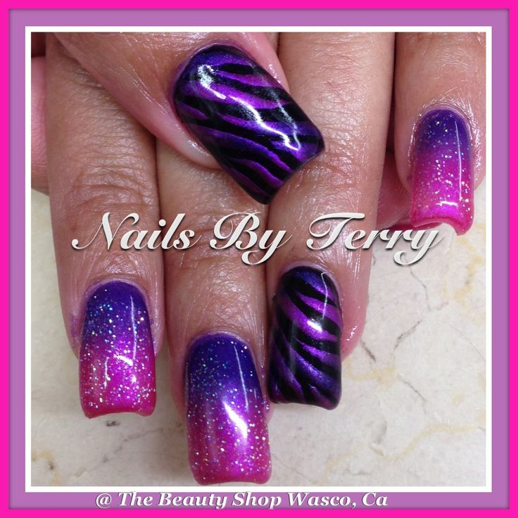 Purple And Pink Animal Print Gel Nails