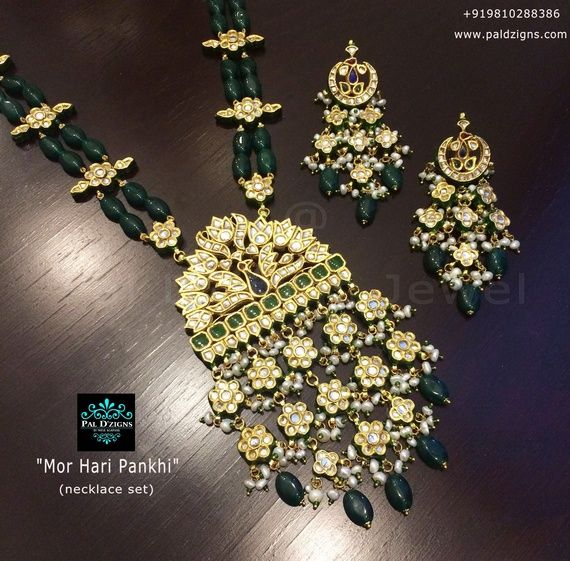 Raani haar with polki and emeralds
