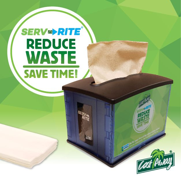 Make it quick and easy for customers to take only the napkins they need. Serv-Rite® dispensers are designed for one-at-a-time dispensing to minimise waste and reduce costs. See bit.ly/serv-rite