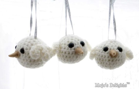 Amigurumi White Dove Tree Decorations by MojosDelights on Etsy