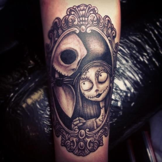 Awesome Nightmare Before Christmas tattoo of Jack and Sally.