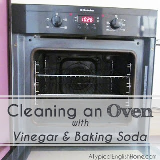 How to clean an oven with baking soda and white vinegar.