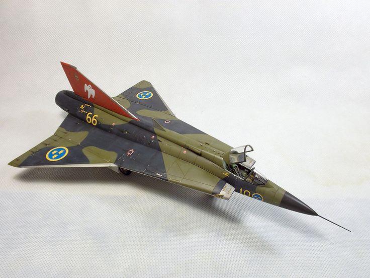 PRO BUILT 1/48 Swedish fighter J-35F DRAKEN #EduardLimitedEdition