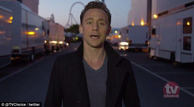 Thank you: Tom Hiddleston was named the winner of the Best Actor TV Choice Award in London on Monday night but had to film his acceptance speech from the set of Thor: Ragnarok on the Gold Coast in Australia