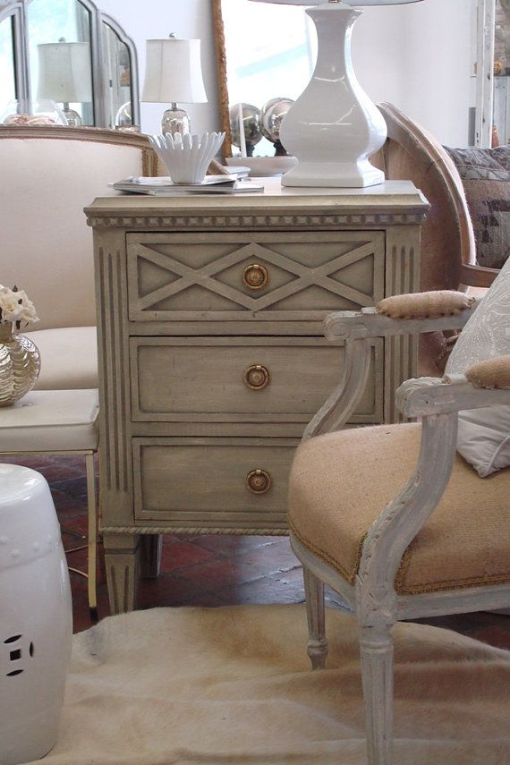 pair of gustavian driftwood grey swedish painted nightstands commodes
