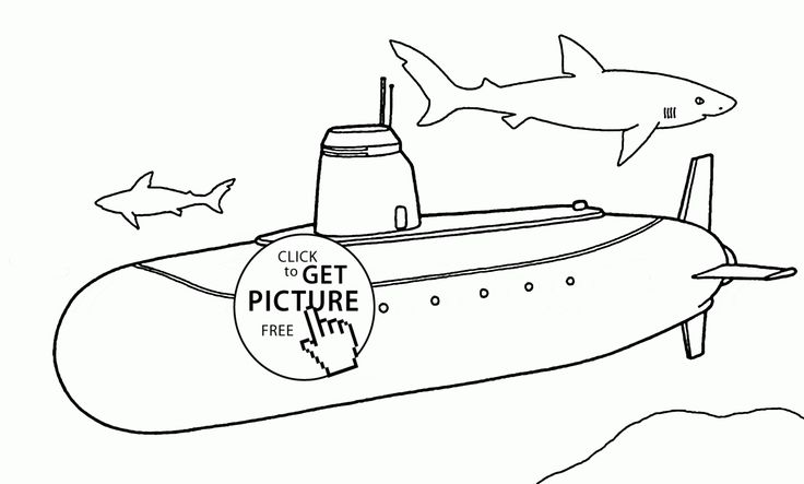 Real Submarine Coloring Page For Kids, Transportation