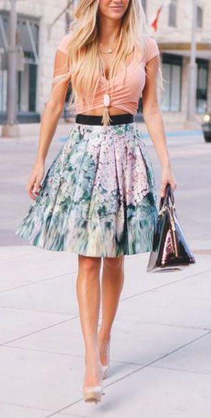 #street #style summer floral skirt @wachabuy