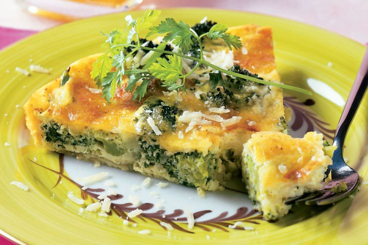 Broccoli and Cheese Crustless Quiche. Enjoy this no-crust savory custard pie with a salad for lunch or dinner.