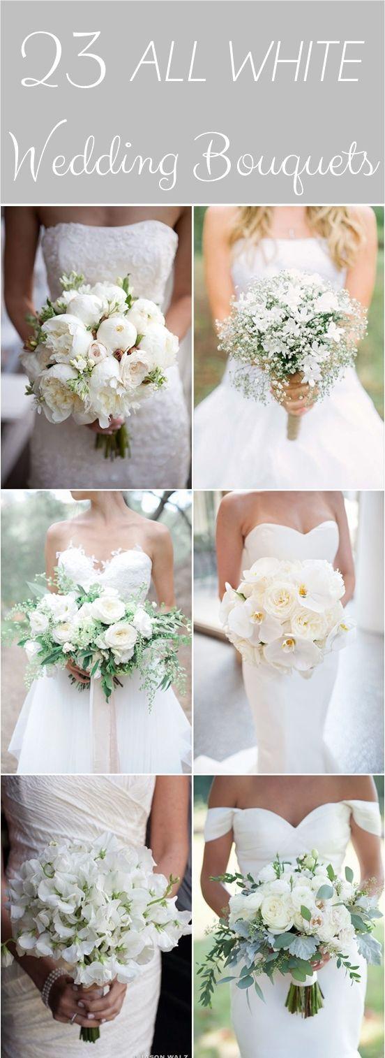 23 All White Wedding Bouquets. #weddingbouquet #whitebouquet