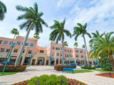 Mizner Park in downtown Boca Raton, home to upscale shops and restaurants, office space and residential apartments.