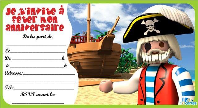 invitation anniversaire Playmobil pirates - 3 | robocar poli party ideas | Pinterest | Playmobil
