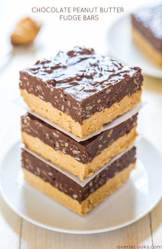 Chocolate Peanut Butter Fudge Bars: YUM