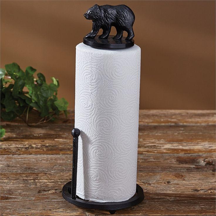 Cast Black Bear Lodge Log Cabin Countertop Paper Towel Holder