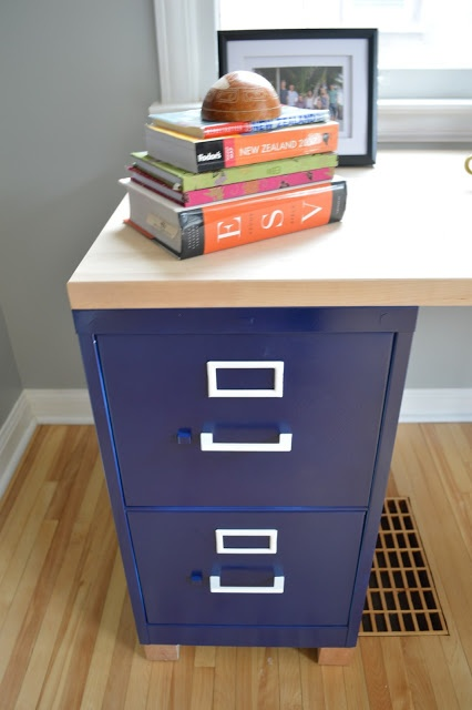 how to make a desk out of 2 filing cabinets