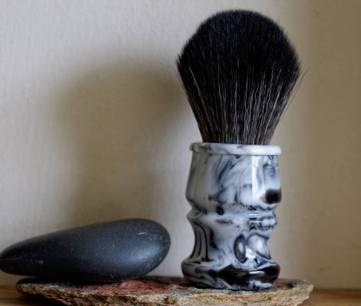 Shaving Brush - Marble Resin Lathe-Turned Handle with Synthetic BOSS Knot by LoveYourShave on Etsy