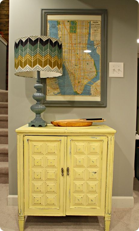 Love this! blue yellow vintage sewing cabinet