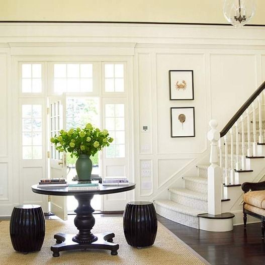 Check out the carpeted stairs leading to wooden floor downstairs - From better homes and gardens