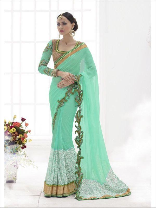 Green Party Wear Georgette/Net Saree