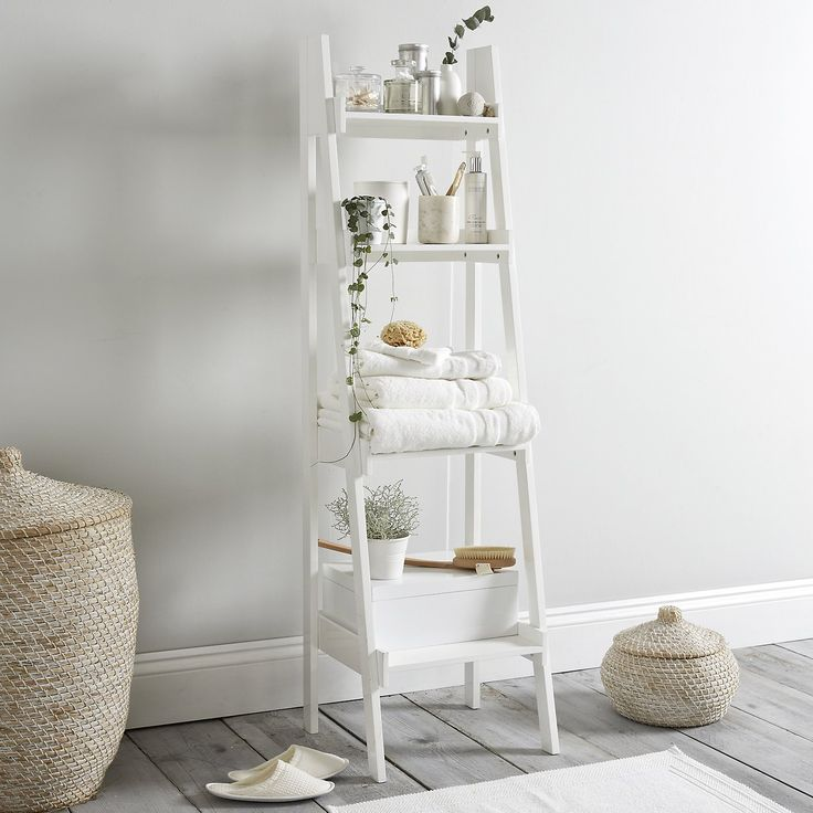 Original Ladder Bathroom Storage  Modern Grey Bathroom  Makeover  PHOTO