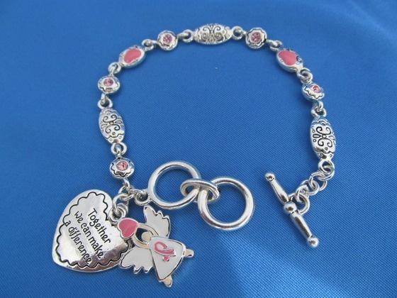 18k white GP Pink Ribbon & Charm Bracelet $18.00: Bracelets 18 00, Charm Bracelets, Charms Bracelets, Bracelets 1800