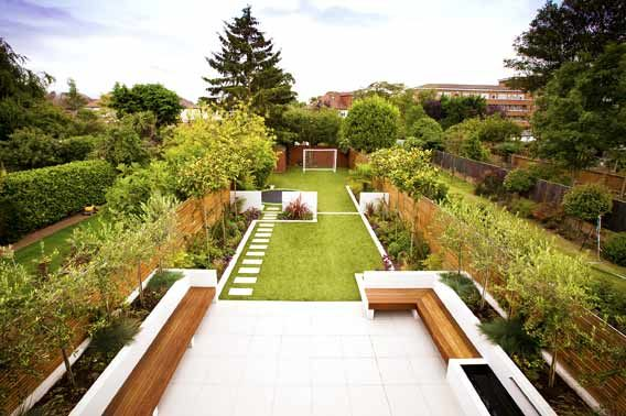Family garden divided into three areas with childrens play area at far end
