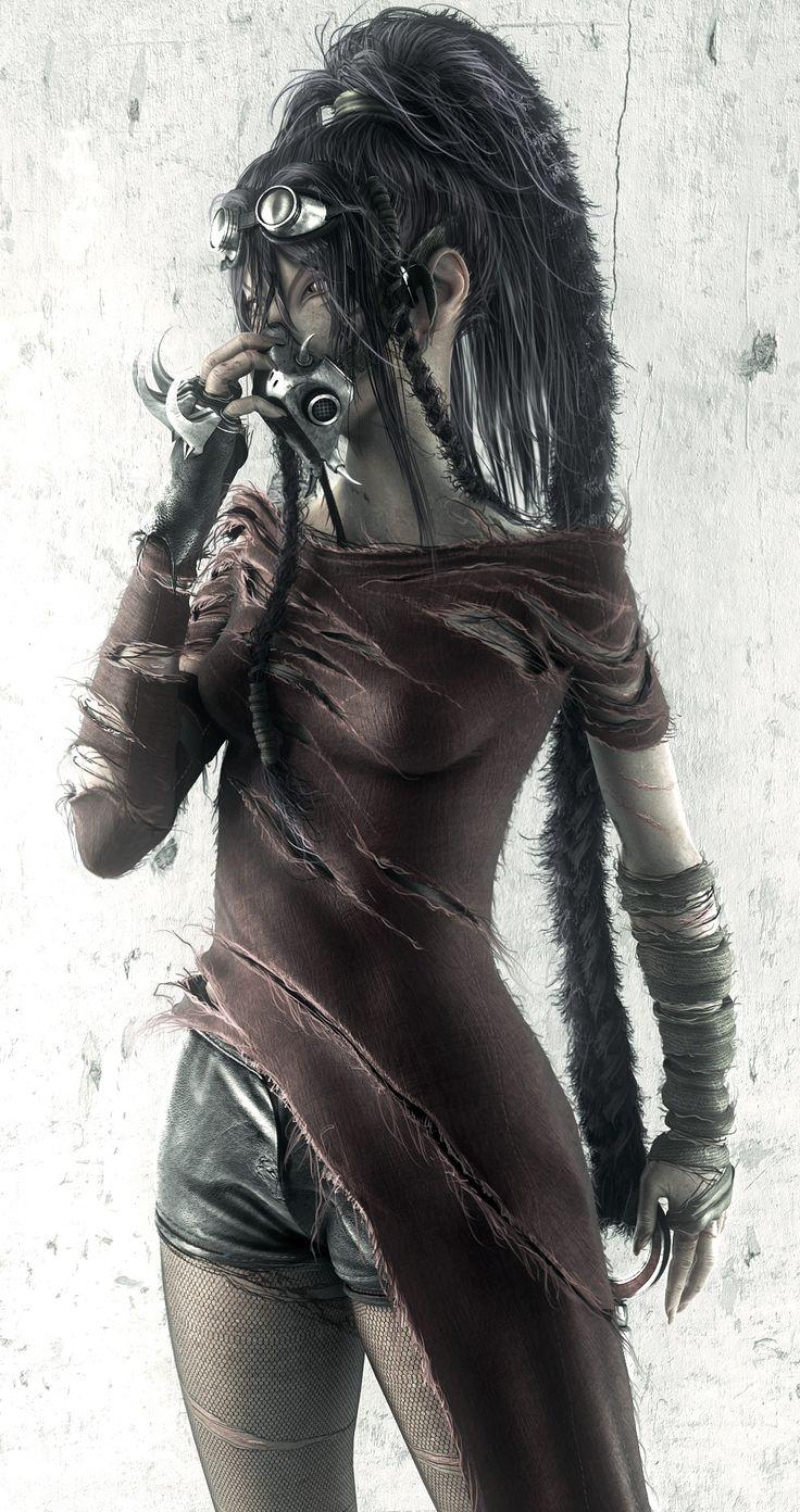 Post-Apocalyptic Girl, Cyberpunk, Dark Fashion, Dystopian Fashion, Trash Fashion, #fantasy art