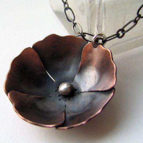 copper poppy blossom pendant from Silentgoddess Art Jewelry