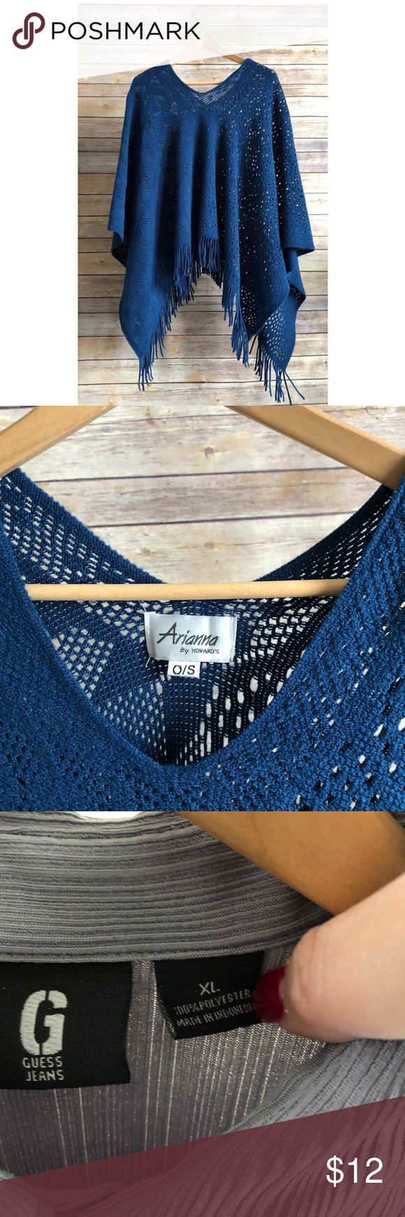 Arianna by Howard's Dark Blue knit Poncho Soft and cute Poncho to go with your casual outfit. It's in perfect condition! Louis Vuitton Sweaters Shrugs & Ponchos
