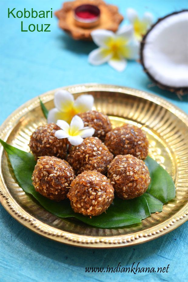 Coconut Jaggery Ladoo or Kobbari Louz is easy and quick laddu recipe with minimal ingredients, for vegan version just skip ghee and make this delightful ladoo for Diwali or any festival