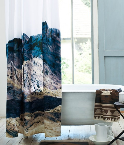 photographic mountain print shower curtain by H via happymundane.com or living room