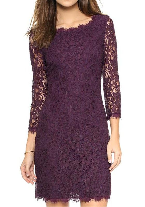 Dark Purple Floral Hollow-out Zipper See Through Three Quarter Length Sleeve Sexy Slim Lace Mini Dress - Mini Dresses - Dresses