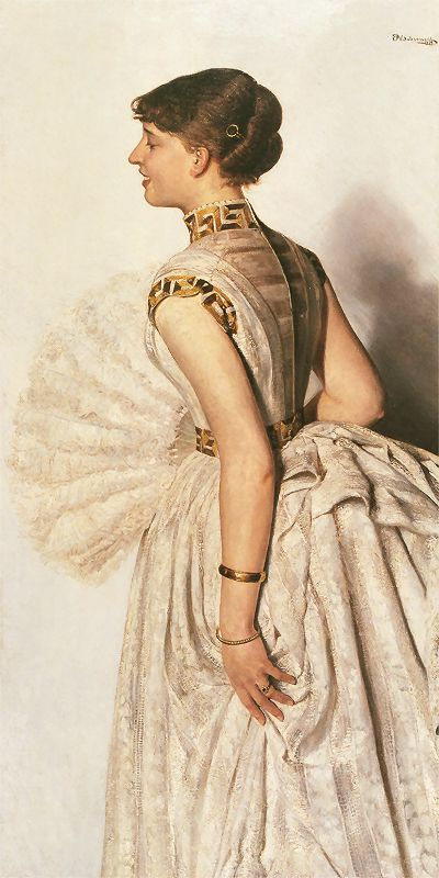 Portret narzeczonej - Marii Gralewskiej   1887. Olej na płótnie. 140 x 70 cm.   Muzeum Narodowe w Krakowie.
