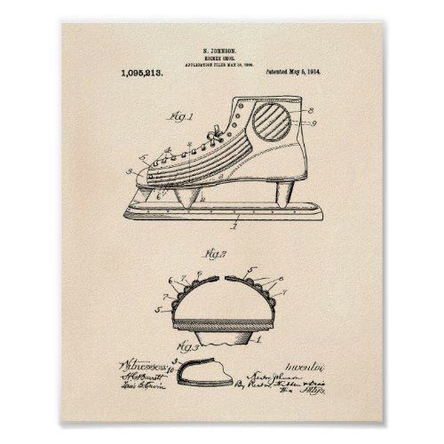 Hockey Shoe 1914 Patent Art Old Peper Poster