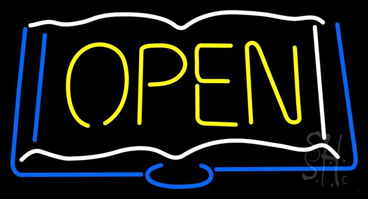 Books Open Neon Sign 20 Tall x 37 Wide x 3 Deep, is 100% Handcrafted with Real Glass Tube Neon Sign. !!! Made in USA !!!  Colors on the sign are White, Yellow and Blue. Books Open Neon Sign is high impact, eye catching, real glass tube neon sign. This characteristic glow can attract customers like nothing else, virtually burning your identity into the minds of potential and future customers. Books Open Neon Sign can be left on 24 hours a day, seven days a week, 365 days a year...for decades…