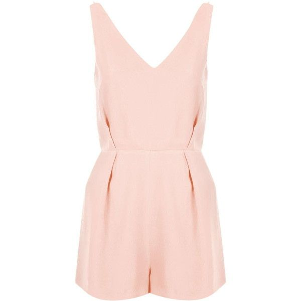 TOPSHOP PETITE Lace Back Romper ($90) ❤ liked on Polyvore featuring jumpsuits, rompers, playsuits, dresses, tops, nude, petite, playsuit jumpsuit, topshop and petite jumpsuit